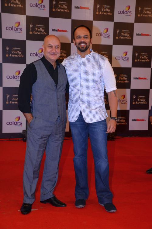 At The 13th Indian Telly Awards - Anupam Kher and Rohit Shetty