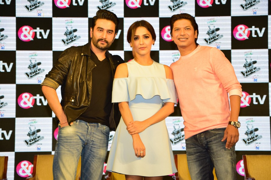 (From left) Shekhar Ravjiani, Neeti Mohan and Shaan at the launch of &TV's The Voice India Kids