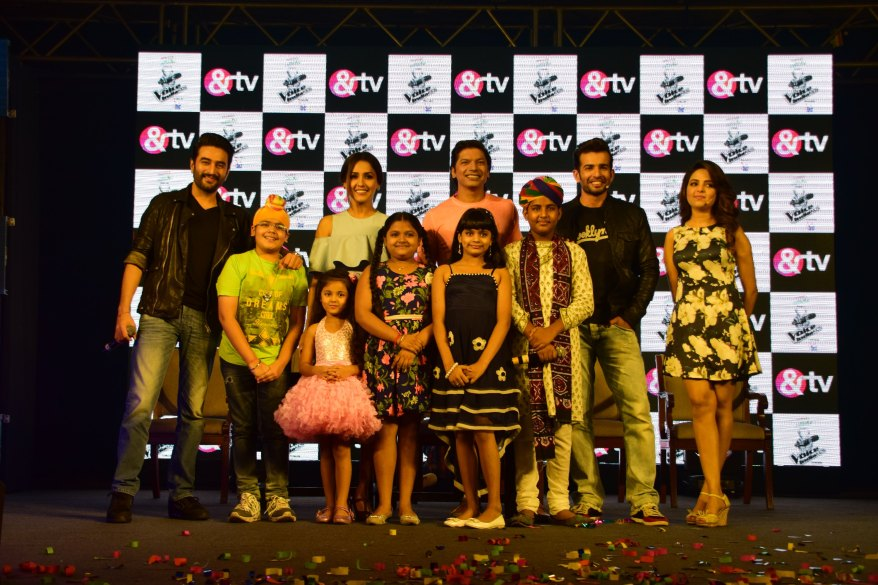 (From left) Shekhar Ravjiani, Neeti Mohan, Shaan, Jay Bhanushali, Sugandha Mishra and the kids  at the launch of &TV's The Voice India Kids
