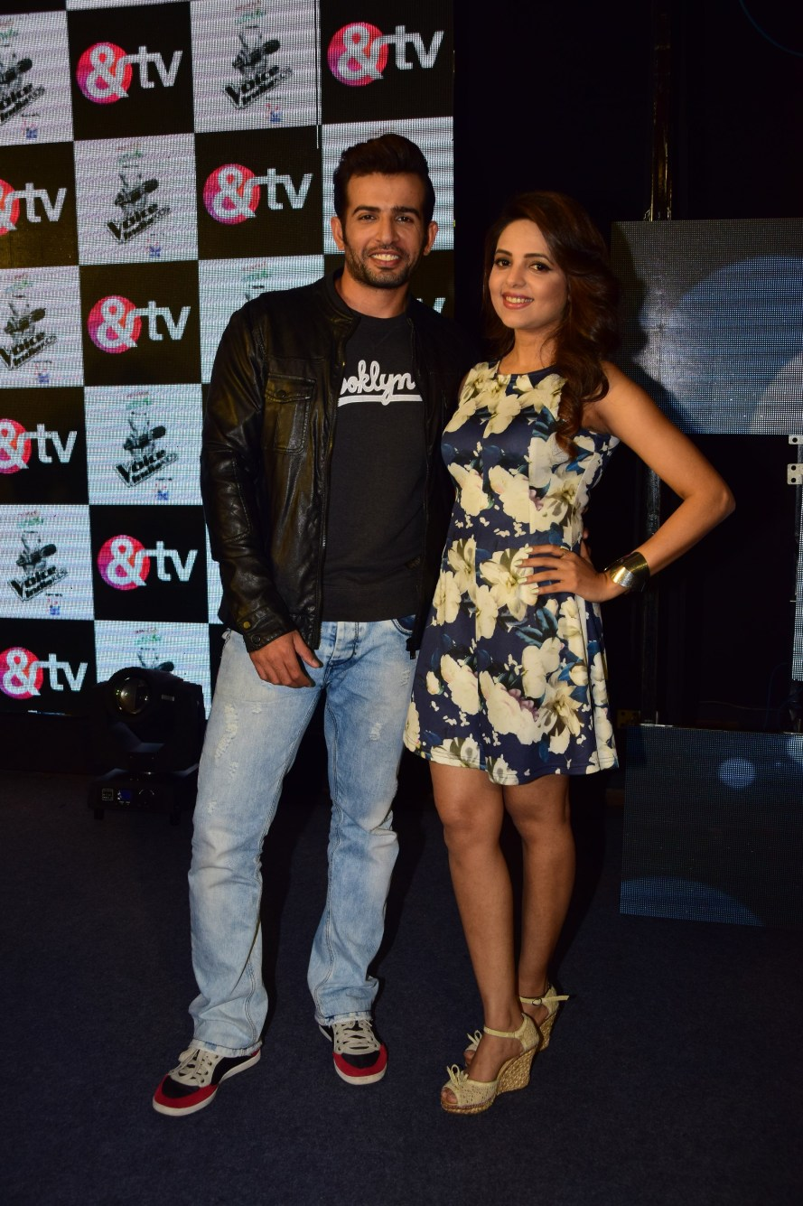 Jay Bhanushali and Sugandha Mishra at the launch of &TV's The Voice India Kids