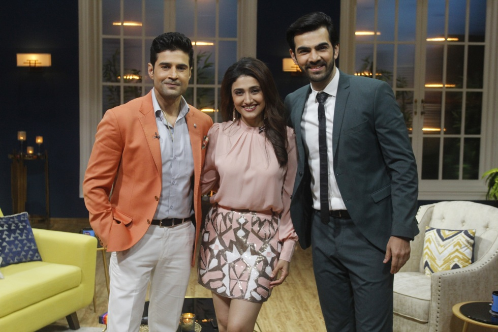 Rajeev Khandelwal, Ragini Khanna and Karan V Grover on Zee TV's JuzzBaatt.JPG