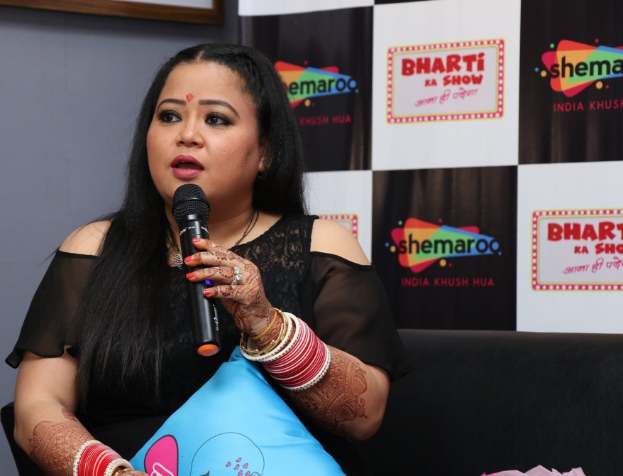 Bharti Singh at the launch of Shemaroo's new show.jpg