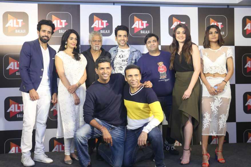 Anil Charanjeet, Mallika Sherawat, Sanjay Mishra, Tusshar Kapoor, Kiku Sharda, Shefali Zariwala, Sakshi Pradhan, Paritosh Painter, Farhad Samji at the launch of Booo... Sabki Phategi