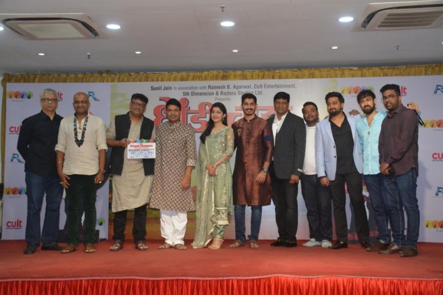 from left Prod Aditya Shastri, Vaibhav Mangle, Dir Dnyanesh Bhalekar, Bharat Jadhav,Sayli Patil,Nikhil Chavan,Prod Sunil Jain,Aditya Joshi,Alok Thakur, Music Composer Saurabh Durgesh.jpg