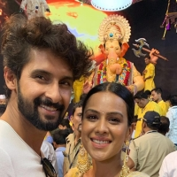 Ravi Dubey and Nia Sharma seek blessings from Lord Ganesha before the release of Jamai 2.0